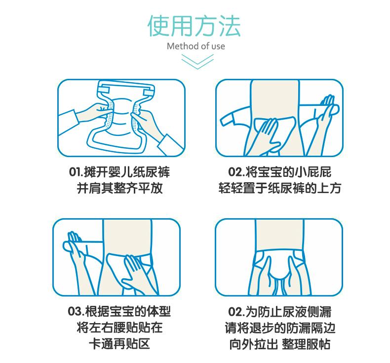 纸尿裤穿戴方法